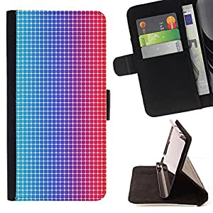 DEVIL CASE - FOR Samsung Galaxy S6 - Disco Dots Illusion Fabric Pattern Blue Red Led - Style PU Leather Case Wallet Flip Stand Flap Closure Cover