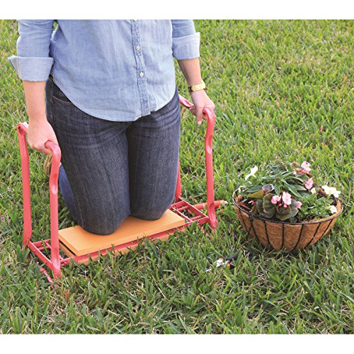 "Gardman R617 Fold Away Garden Kneeler and Seat, 22"" x 11"" x 19"", Pink/Orange"