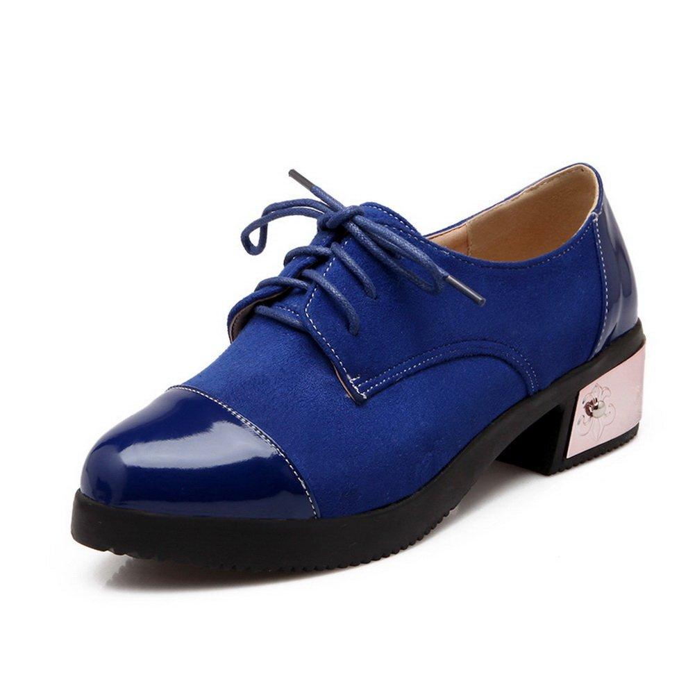 BalaMasa Womens Slip-Resistant Round-Toe Lace-up Blue Urethane Flats-Shoes - 6 B(M) US