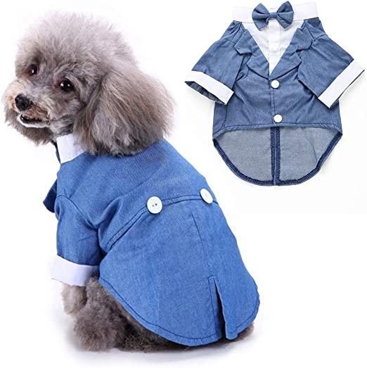 Legendog Ropa para Perros Hidalgo Tuxedo Traje Mascota Perro Boda Camisa con Lazo En El Cuello: Amazon.es: Productos para mascotas
