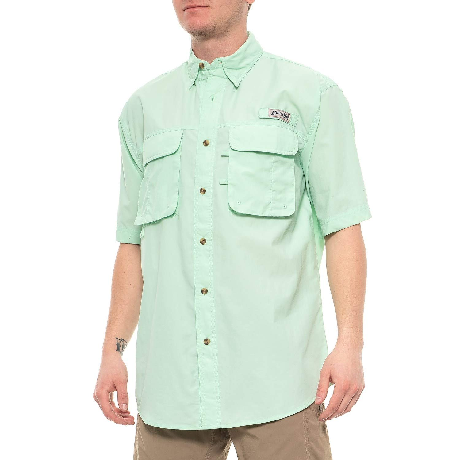 Bimini Bay Outfitters Men's Bimini Flats III Quick Dri Short Sleeve Shirt (Medium, Mist Green) by Bimini Bay Outfitters