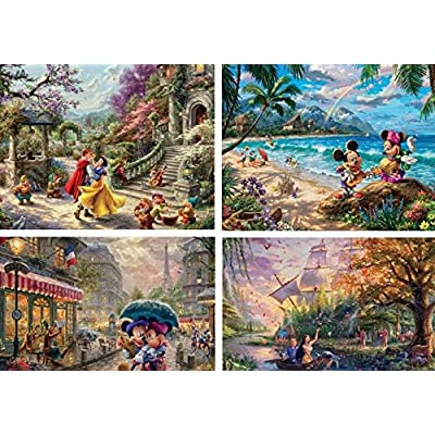 Ceaco Thomas Kinkade The Disney Collection 4 in 1 Multipack Snow White, Mickey & Minnie Mouse, Pocahontas Jigsaw Puzzles, (4) 500 Pieces: Toys & Games
