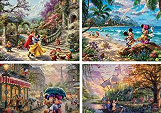 product image for Ceaco Thomas Kinkade The Disney Collection 4 in 1 Multipack Snow White, Mickey & Minnie Mouse, & Pocahontas Jigsaw Puzzles, (4) 500 Pieces