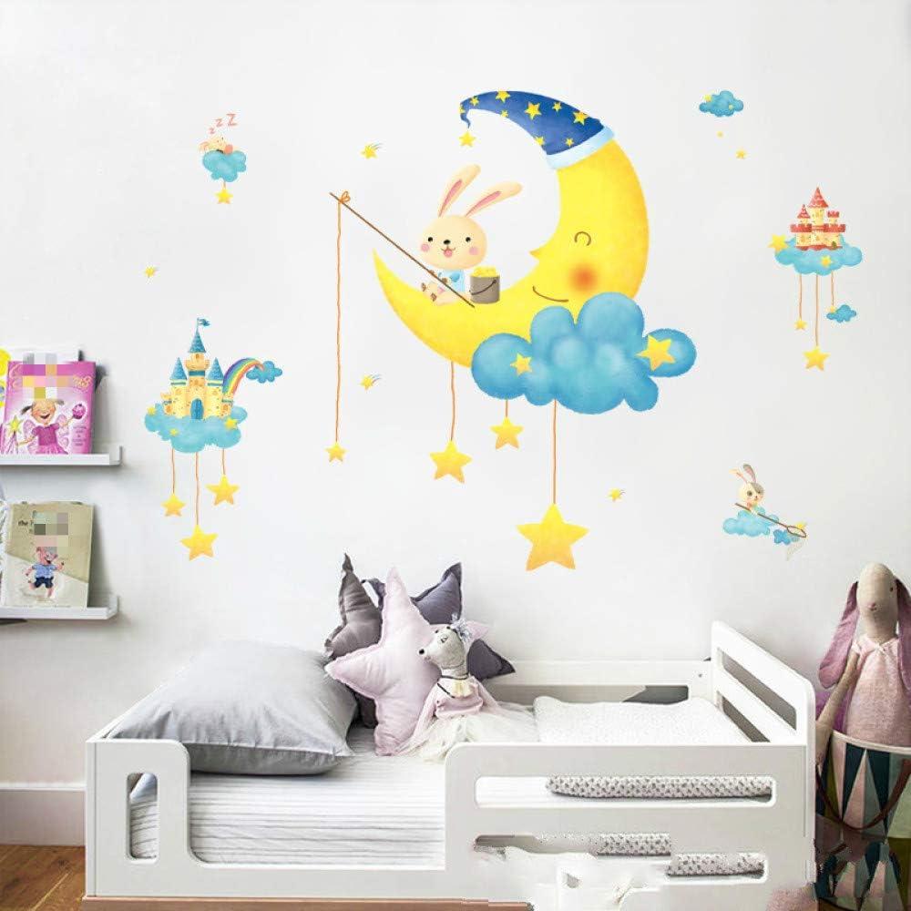 Pegatinas de pared de dibujos animados para habitaciones de niños Sala de estar Dormitorio Decoración de cabecera Pegatinas de pared Calcomanías de luna para niños