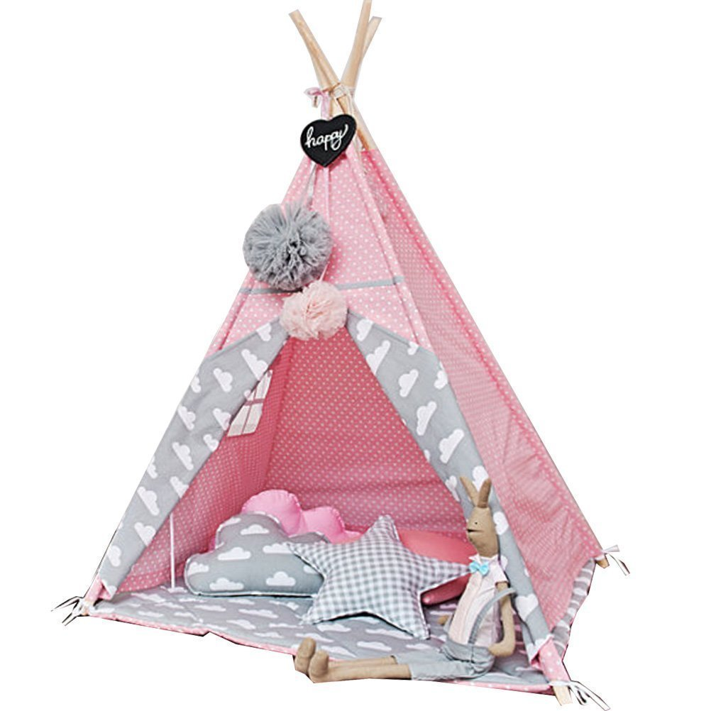 little dove Princess Indian Teepee Tent Children Playhouse Kids Play Room Furniture Top Lace with Hanging Pompoms Ball Style Pink Dot with Thick Cushion