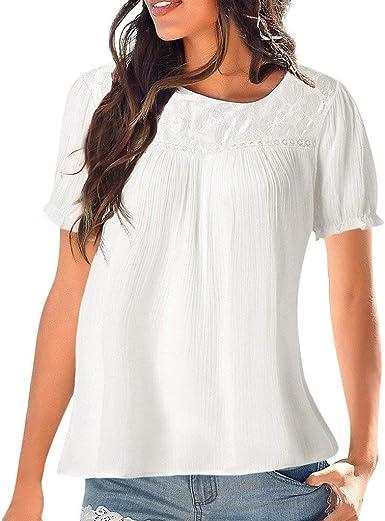POLP Camiseta Manga Cortas de Encaje Mujer Blusa Tallas Grandes Verano Camisa de Fiesta Sexy Tops