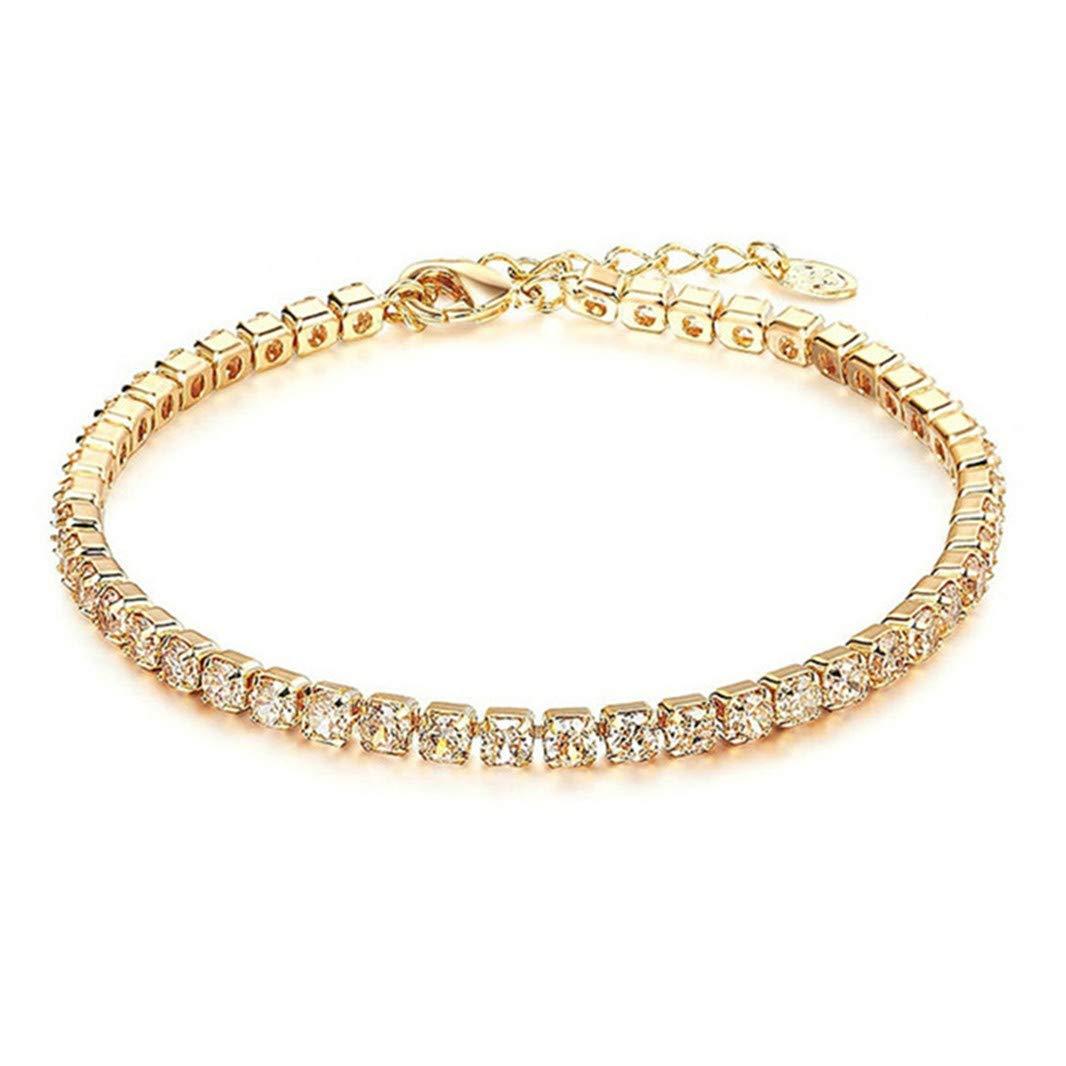 Sperrins Round Cubic Zirconia Classic Tennis Bracelet Gold Color
