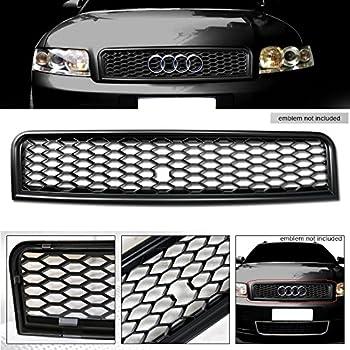 VXMOTOR Matte Black Euro R-Style Sport Honeycomb Mesh Front Hood Bumper Grill Grille Cover +Emblem Logo Base 2002-2005 Audi A4/2004-2005 S4 B6