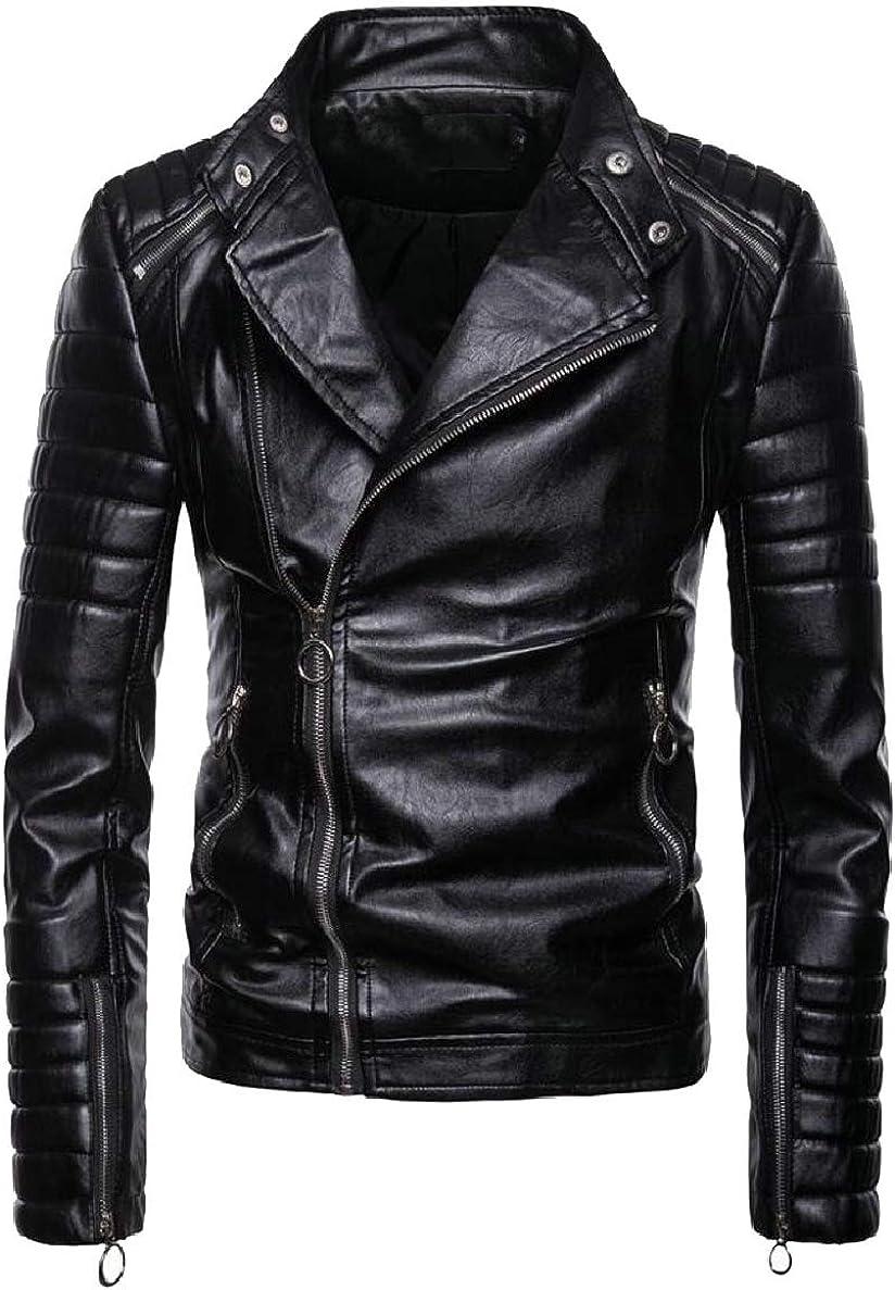 ONTBYB Mens Slim Oblique Zip Moto Stylish Biker Trucker Faux-Leather Jackets