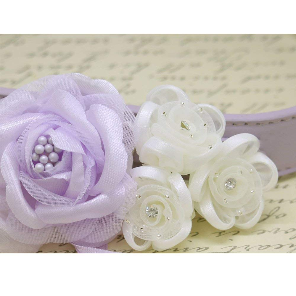 lilac and white Flower Dog Collar for Weddings /'Lilac Rose Design/'