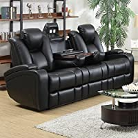 Coaster Home Furnishings  Delange Modern Power Motion Three Seater Sofa with Power Headrest Storage Arms Drop Down Console Power Outlet LED - Black Faux Leather