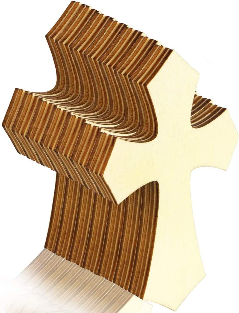 BcPowr 60PCS Unfinished Wood Cutout, Cross Shaped Wood Pieces, Hanging Cross for DIY Craft, Sunday School, Church, Religious Home Decoration, 7x11x0.3CM