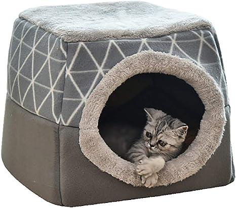 YunNasi Casas para Gato Cueva para Animales Casa de Gato Cama Cueva para Perros Cama para Gatos con Coj/ín Extra/íble Lavable Cama para Perros C/álida en Invierno 45x42x34cm, Regalo 1