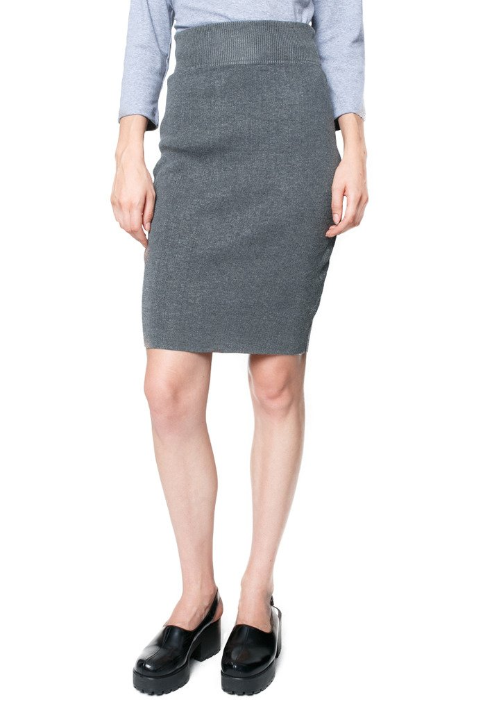 """LONELY TWO-LEGGED CREATURE Women's Lonely Knit Skirt One Size > Waist 22""""- 30"""", Length 22"""" Grey"""