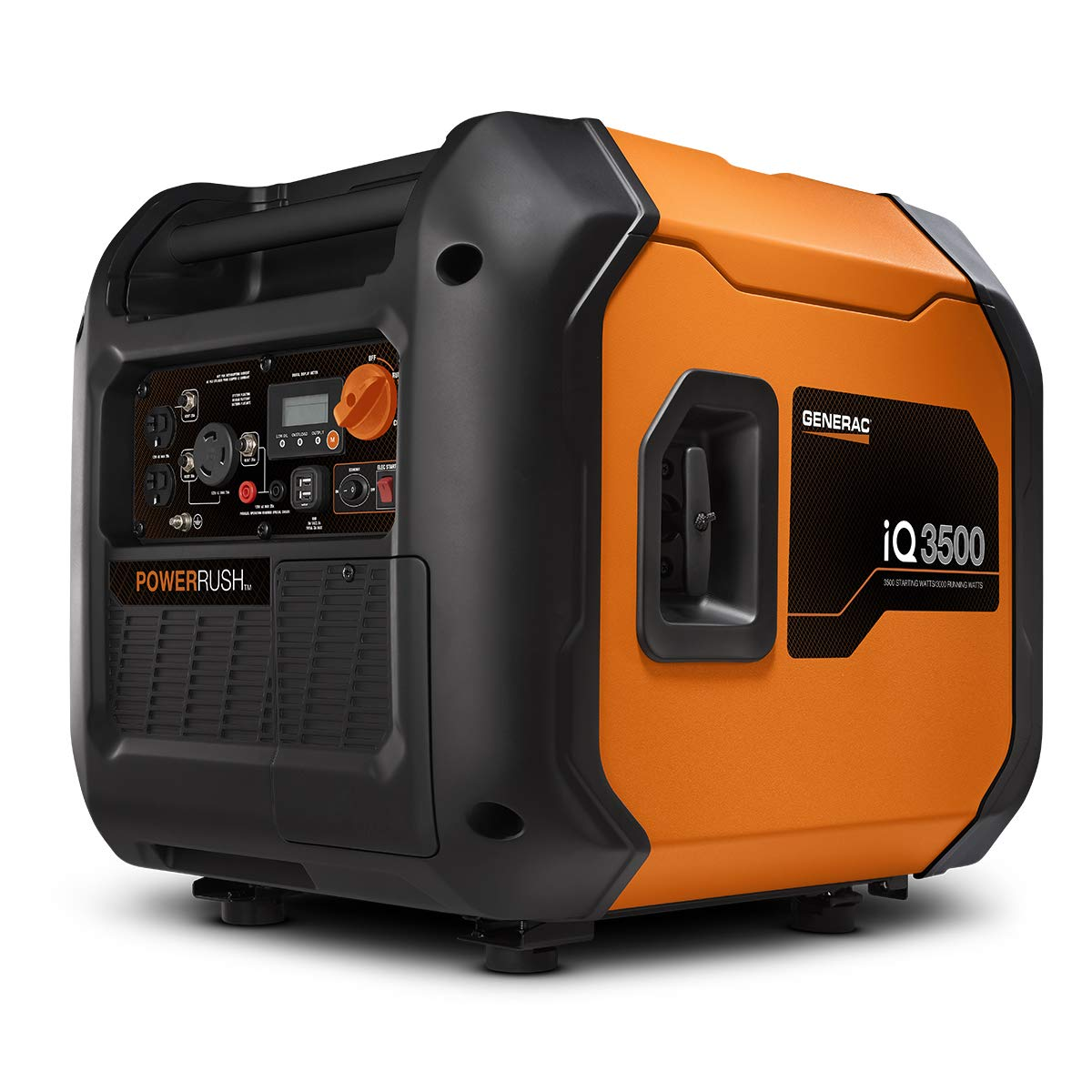 Generac 7127 iQ3500-3500 Watt Portable Inverter Generator Quieter Than Honda, Orange Black
