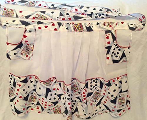 - Apron, Vintage, White Organdy with Playing Card Cotton Print, Red Rick-rack trim, 2 Pockets , 21