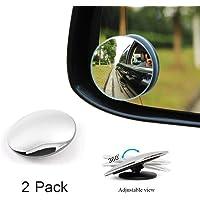 "Haobase 2Pcs Car Truck Van 2"" 360ー Rotatable Rimless Rear-View Blind Spot Glass Mirror"
