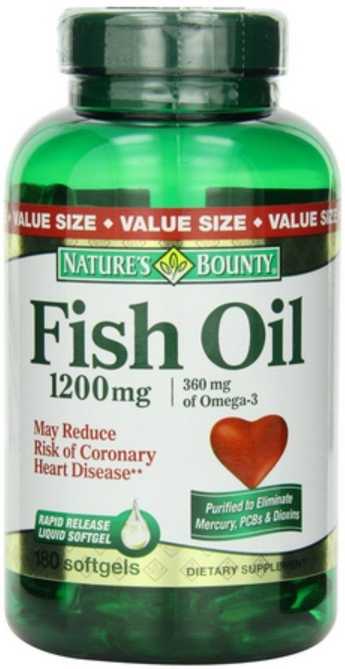 Nature's Bounty Fish Oil, 1200mg, Softgels 180 ea (Pack of 12)
