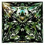 RINGJEWEL 1.87 ct VVS1 Loose Moissanite Princess Cut Use 4 Pendant/Ring Blueish Green Color Stone