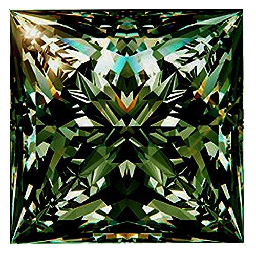 RINGJEWEL 1.95 ct VVS1 Loose Moissanite Princess Cut Use 4 Pendant/Ring Blueish Green Color Stone