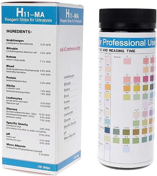 Tandou 100 Tiras Reactivas para análisis de orina: urobilinógeno, bilirrubina, cetona, sangre, proteína, nitrito, leucocitos, glucosa, Gravedad, ...