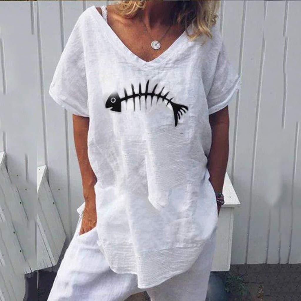 Wtouhe Femme Hauts,2019 /ÉT/é Mode en Vrac Coton Et Lin T-Shirt Col Rond Manches Courtes pour Motif L/éOpard Amusant Ar/êTe Poisson D/éContract/éE Tops Hauts Femme
