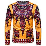 kaifongfu Mens Top, Round Neck Long Sleeve African Style Ethnic Printed Top Blouse(Yellow,2XL)