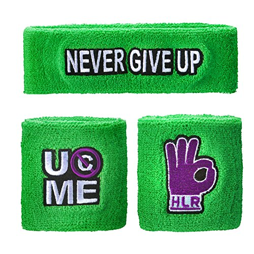 WWE Authentic Wear John Cena Cenation Respect Sweatband Set Green/Purple -