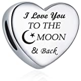 Charm Fit Pandora Charms Bracelet I Love You to The Moon and Back Love Heart Charms Christmas Birthday Gift