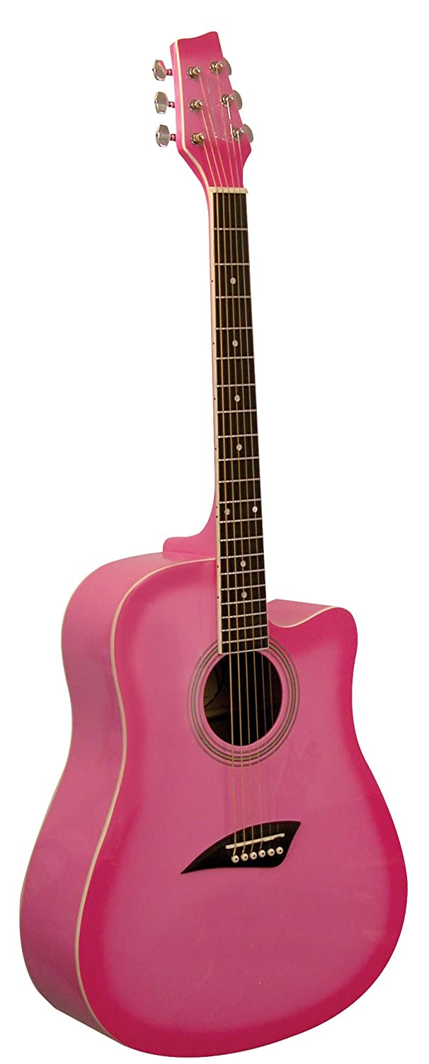 Kona Guitars K1PNK Acoustic Dreadnought Cutaway Guitar in Gloss Pink Burst Finish