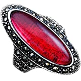Women's Large Oval Crystal Cocktail Ring Fashion Vintage Classic Wedding Eternity Bands Silver Gold...