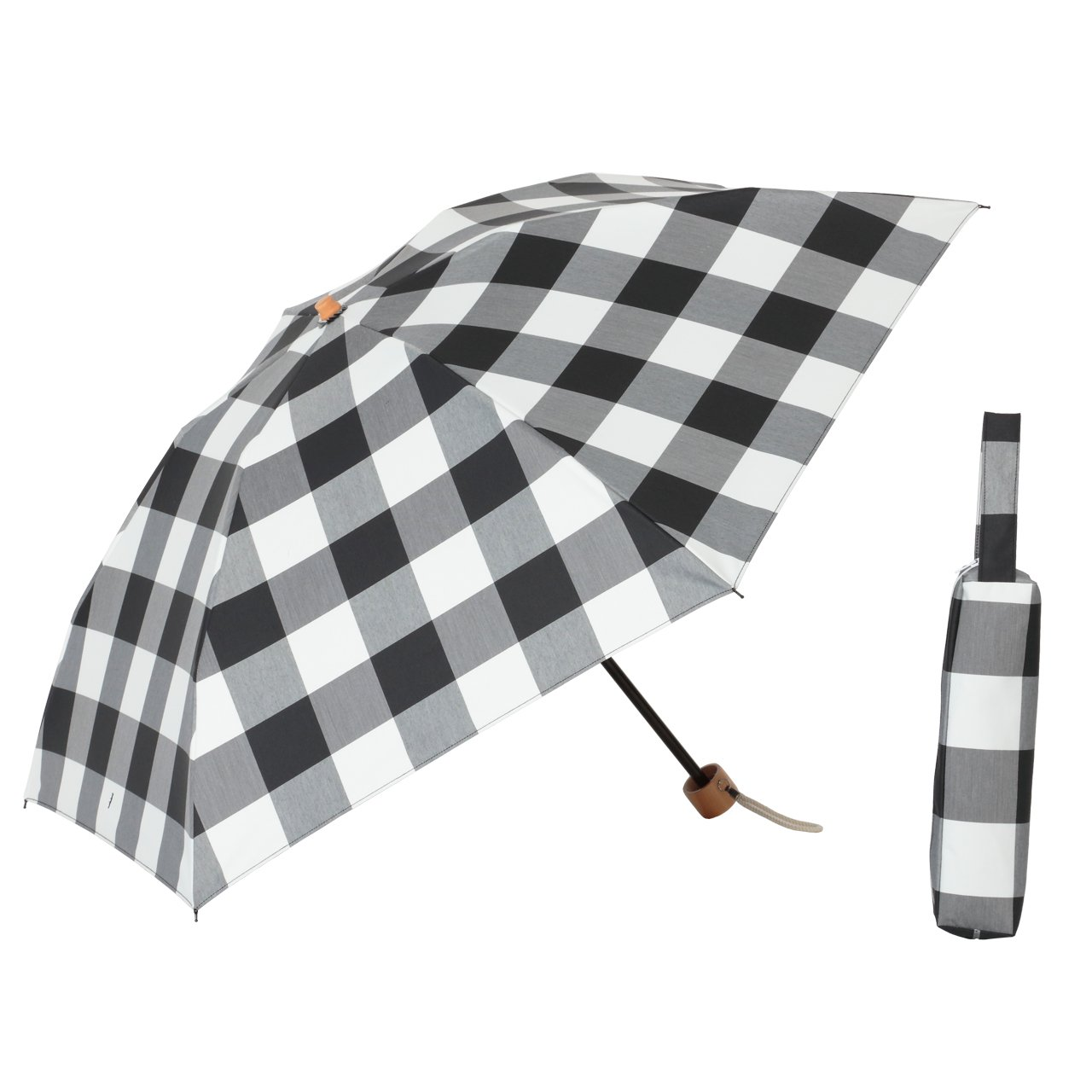 リーベン LIEBEN-0566 手開き 軽量 晴雨兼用 レディース 折り畳み 日傘 ラミネート生地 ギンガムチェック B01N3ABAL4