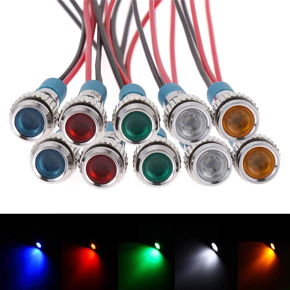 "FICBOX 10pcs 6mm 1/4"" LED Metal Indicator Light 12V Waterproof Signal Lamp Pilot Dash Directional Car Truck Boat with Wire"