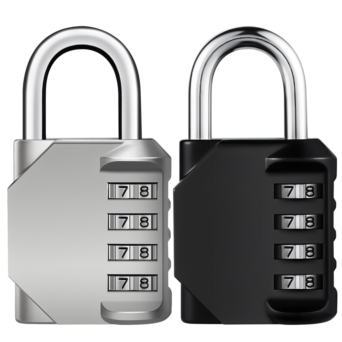 Combination Lock, KeeKit Padlock Combination, 4 Digit Re-settable Combo Lock, Gym Lock, Locker Lock, Waterproof Outdoor Combination Lock for Gate, Cases, Toolbox, Silver&Black, 2 Pack