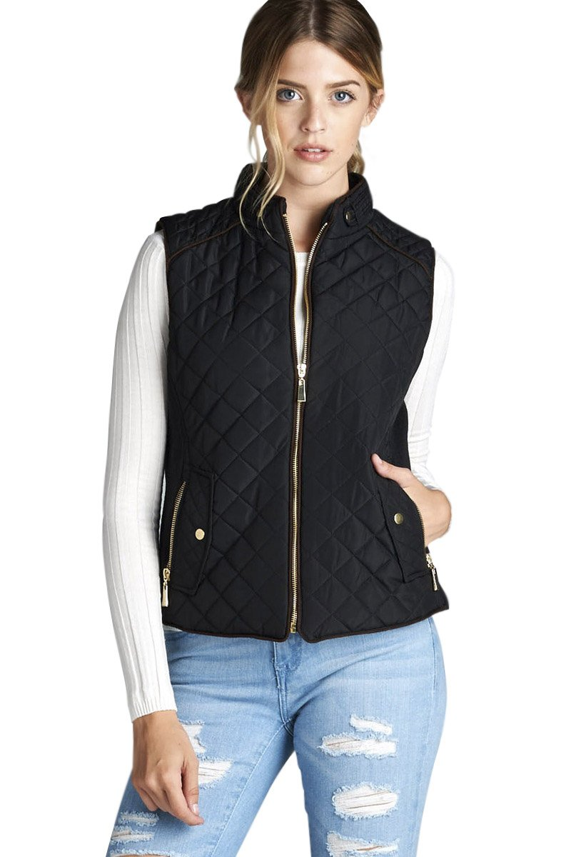 Active USA Quilted Padding Vest With Suede Piping Details Sizes from S to 3XL (Black-2XLarge)
