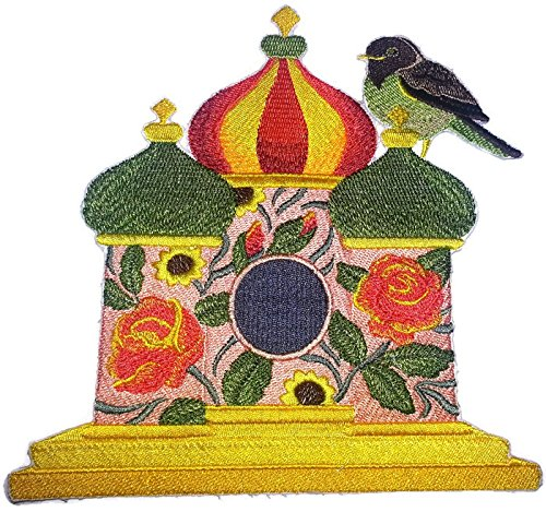Custom and Unique,Amazing Birdhouse[ Russian Birdhouse with Apal Thrush] Embroidered Iron on/Sew Patch [7