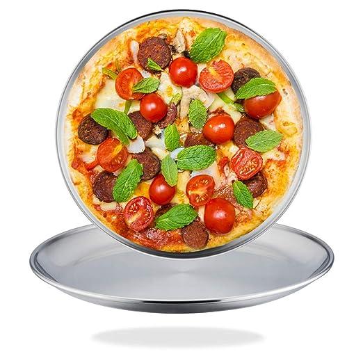 TeamFar - Juego de 2 bandejas para pizza de acero inoxidable ...