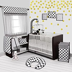 Bacati Stripes/Dots 10-Piece Nursery-in-A-Bag Crib Bedding Set with Long Rail Guard, Black/White