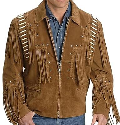 Classyak Western Cowboy Lederjacke für Herren, mit Fransen