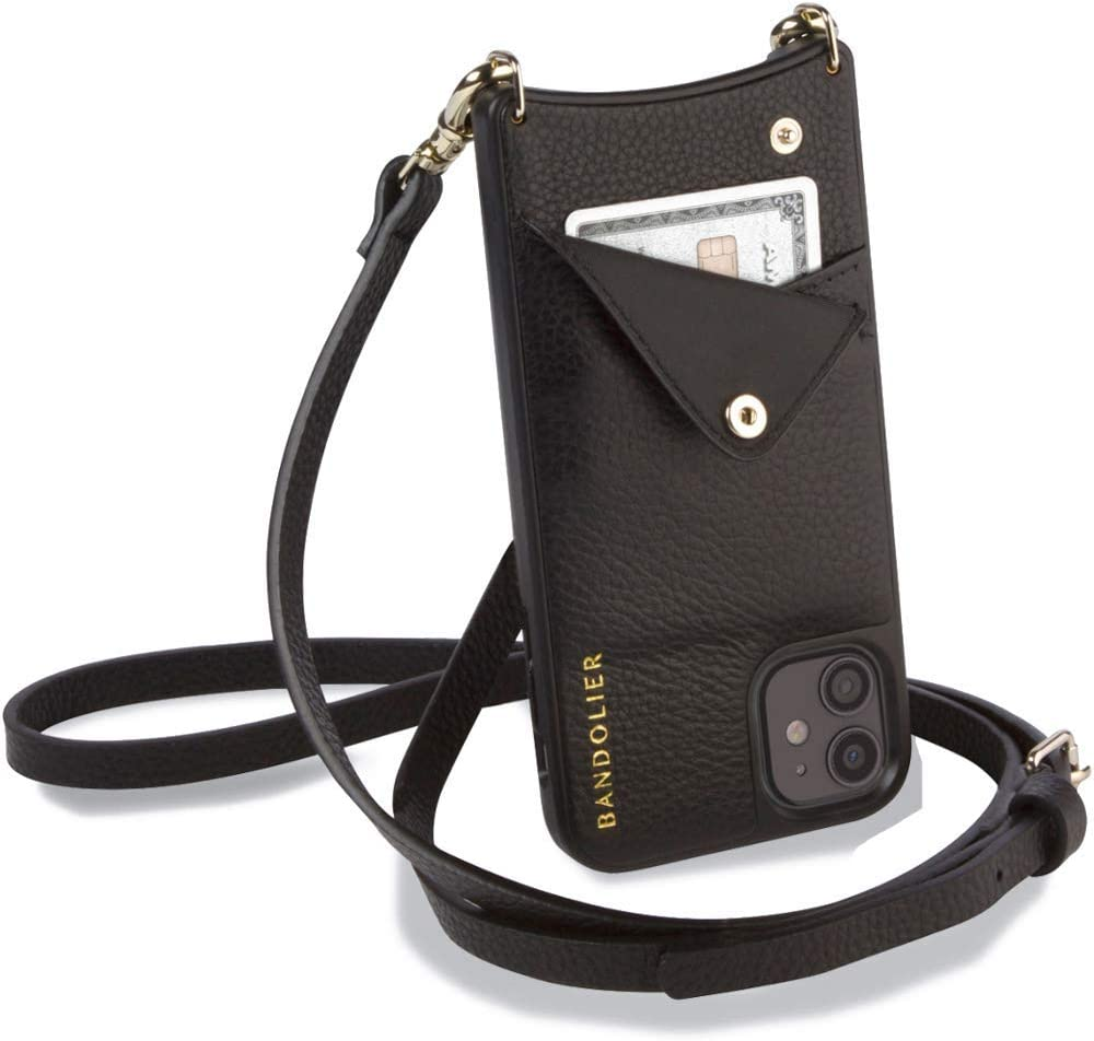 Bandolier Emma Crossbody Phone Case and Wallet - Black Leather with Gold Detail - Compatible with iPhone SE / 8, 7, 6 Only
