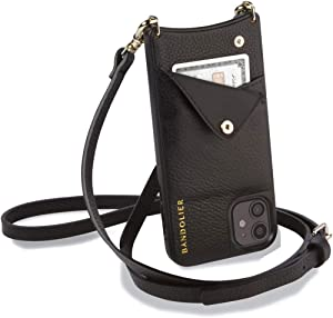 Bandolier Emma Crossbody Phone Case and Wallet - Black Leather with Gold Detail - Compatible with iPhone Xs Max Only