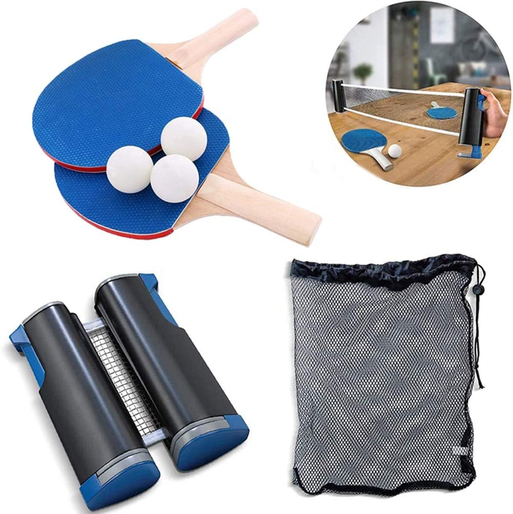 Raquetas De Tenis De Mesa Set Raquetas De Ping Pong Set 2 Raquetas + 3 Pelotas De Ping-Pong+1 Red De Tenis De Mesa PortáTil Adecuado Para Actividades Interiores Y Exteriores Para NiñOs Y Adultos