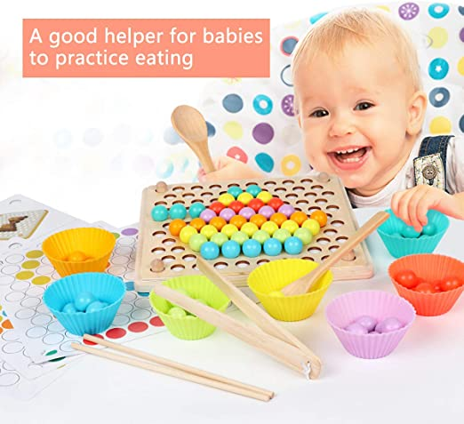 Toddler Educational Montessori Games for Math Learning XUNPAS Wooden Peg Board Beads Game Puzzle Color Sorting Stacking Art Toys for Toddlers,