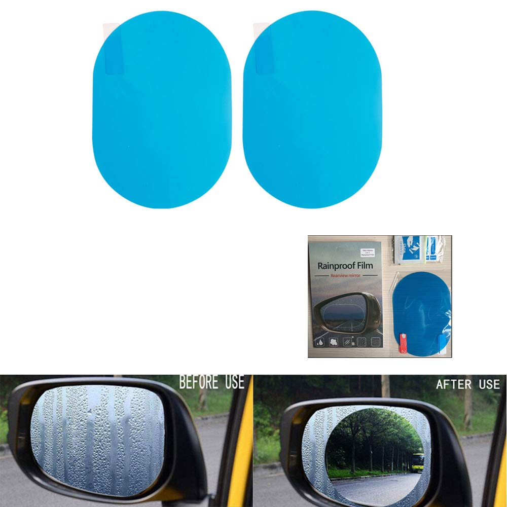 BENBW 1Set Car Rearview Mirror Protective Film Anti-Fog Protective Film Anti-Glare Anti-Scratch Rainproof (with Scraper and Alcohol pad)