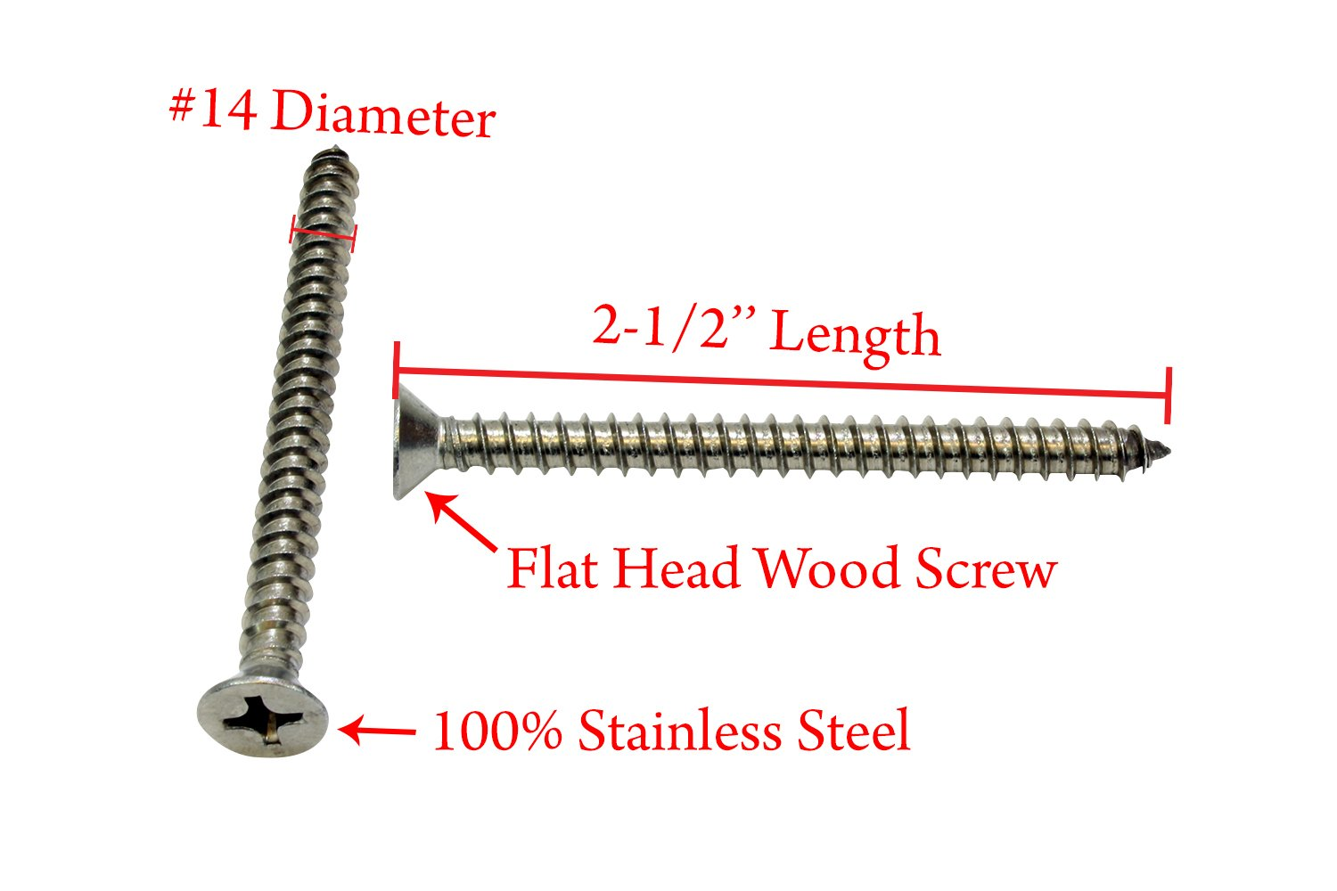 25 pc #12 X 1-1//2 Stainless Flat Head Phillips Wood Screw, Stainless Steel Screw by Bolt Dropper 304 18-8