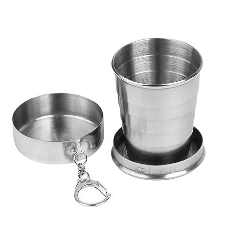LINSUNG Taza Plegable de Acero Inoxidable para Senderismo, 150 ml
