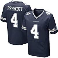 Thole NFL Camisa de Rugby Dallas Cowboys 4# Prescott Hombre Home Jersey Juventud Mangas Cortas
