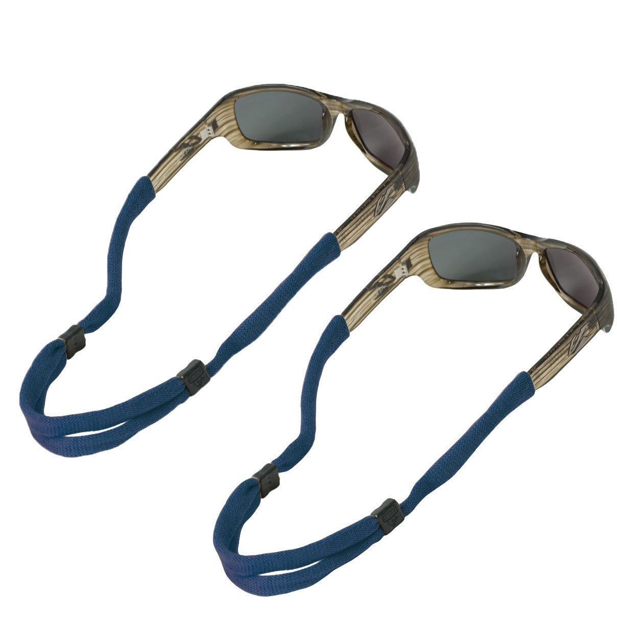 Chums No Tail Adjustable Cotton Eyeglass and Sunglass Retainer / Strap, Navy Blue (2 Pack) by Chums