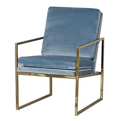 Elegant Light Blue Armchair Velvet Lounge Chair, Brass Plated Gold Finish  Steel/Metal Frame,