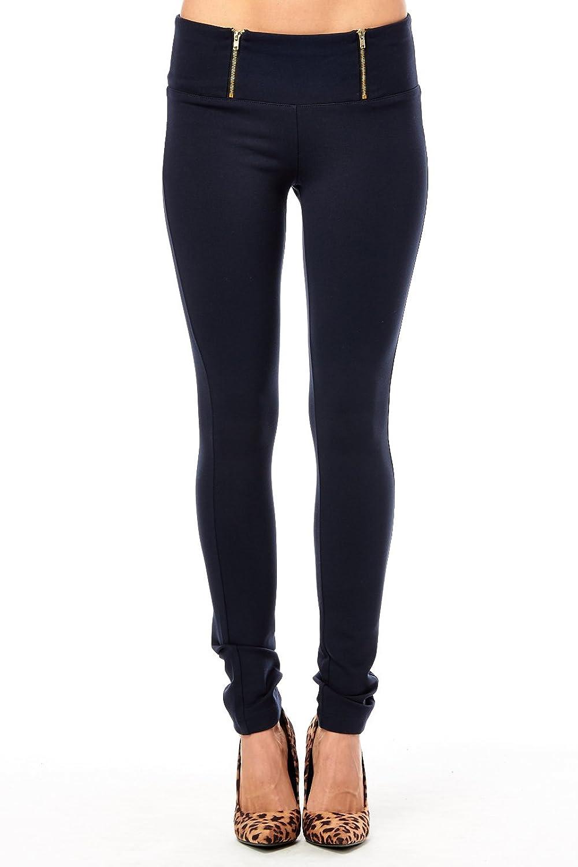 Womens Casual Ponti Zipper On Waist Pants 643